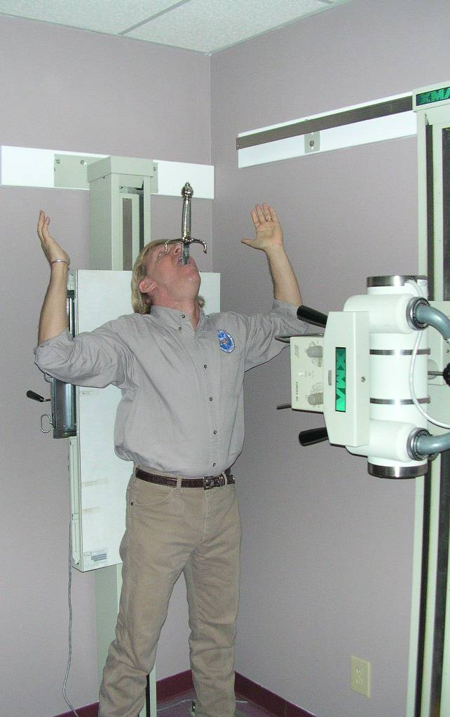 Dan Meyer being x-rayed